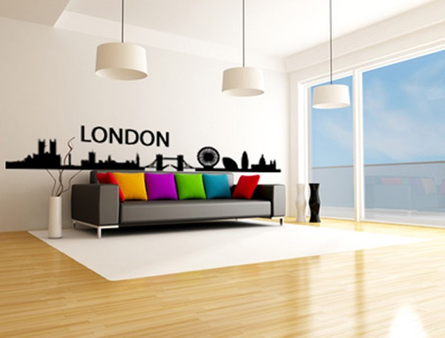 wandtatto skyline london. Black Bedroom Furniture Sets. Home Design Ideas