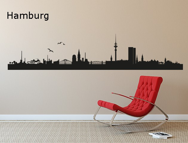 wandtattoo skyline hamburg. Black Bedroom Furniture Sets. Home Design Ideas
