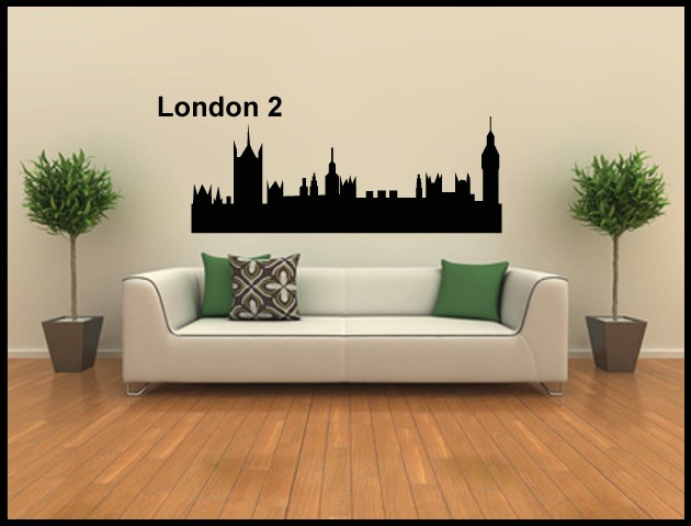 wandtatto aufkleber skyline london 2. Black Bedroom Furniture Sets. Home Design Ideas